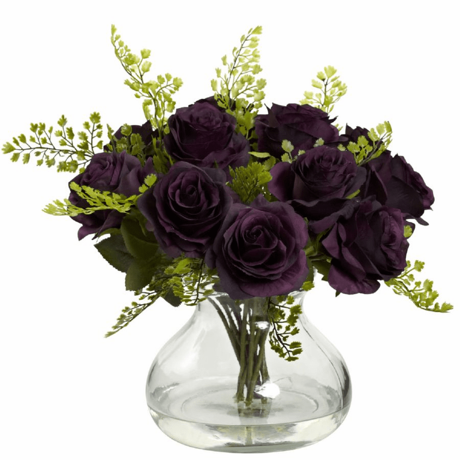 "14"" Rose & Maiden Hair Flower Arrangement in Vase - Elegant Purple"