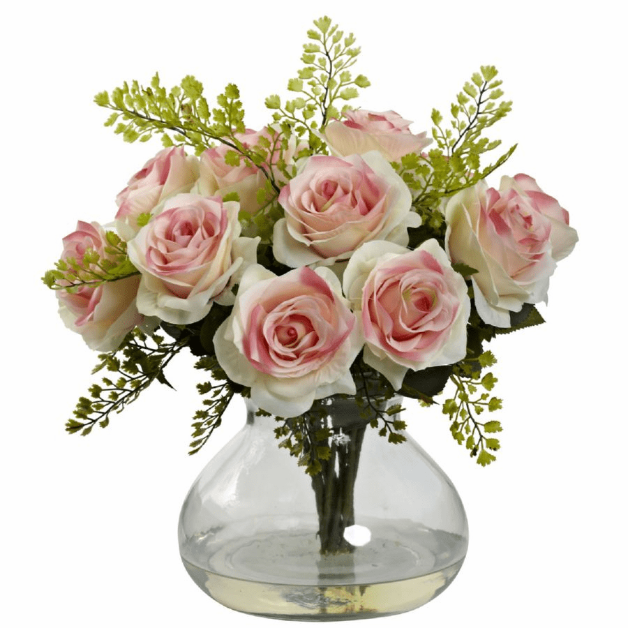 "14"" Rose & Maiden Hair Flower Arrangement in Vase - Light Pink"