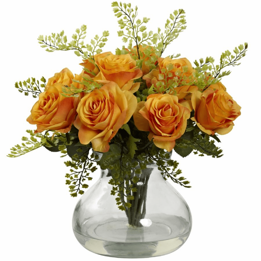 "14"" Rose & Maiden Hair Flower Arrangement in Vase - Orange/Yellow"