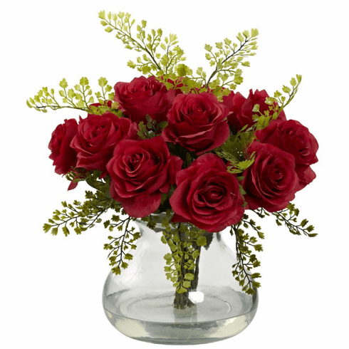 "14"" Rose & Maiden Hair Flower Arrangement in Vase - Red"