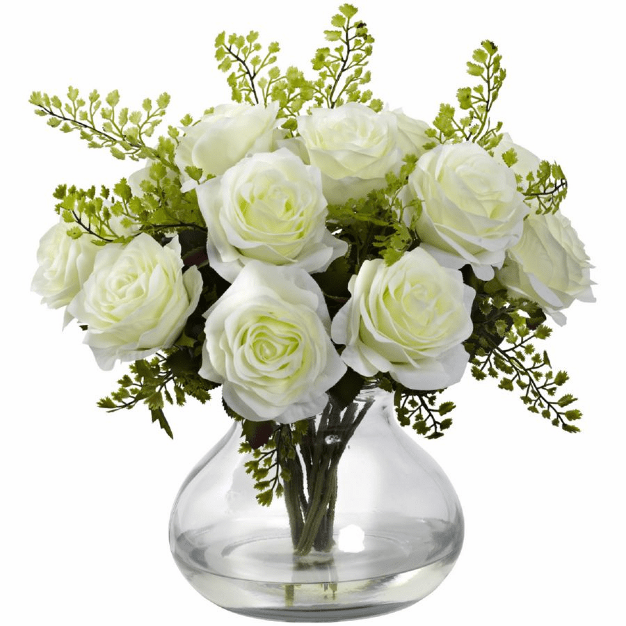 "14"" Rose & Maiden Hair Flower Arrangement in Vase - White"