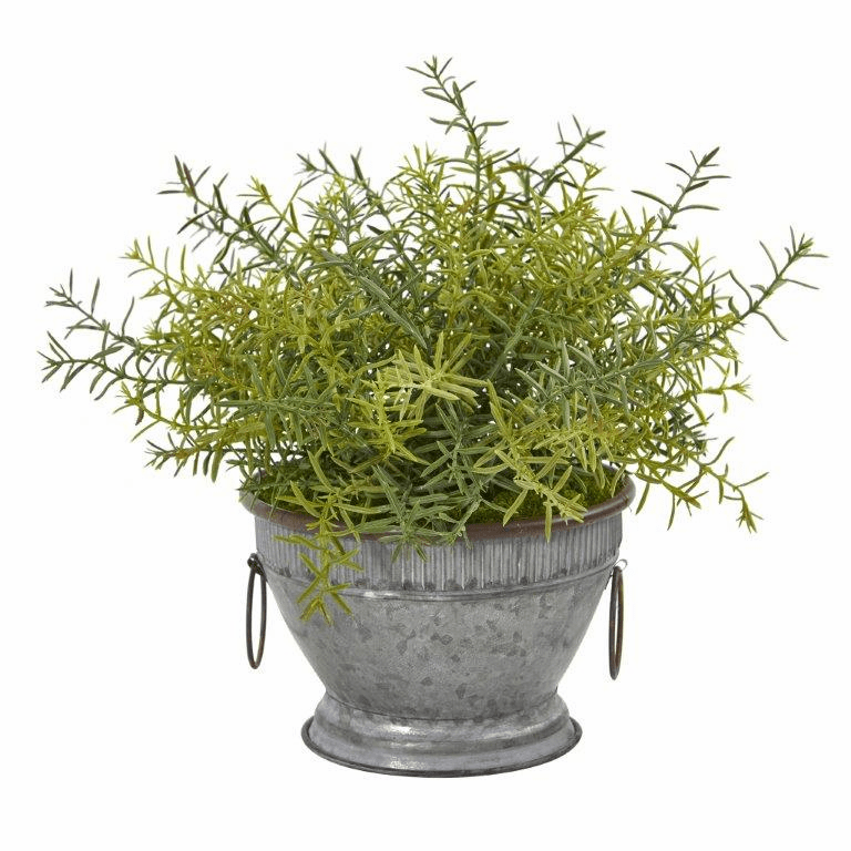 14� Rosemary Artificial Plant in Vintage Metal Bowl with Copper Trimming