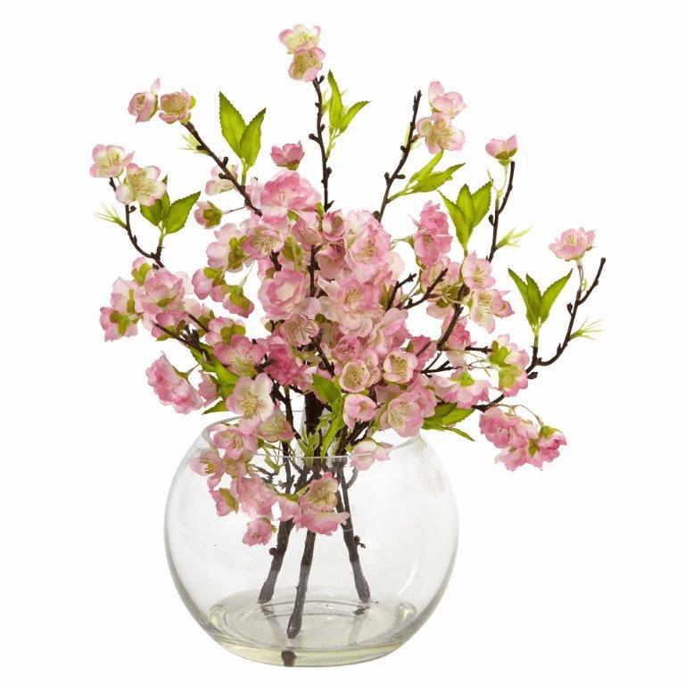 "14"" Silk Cherry Blossom Spray Arrangement in Large Vase"