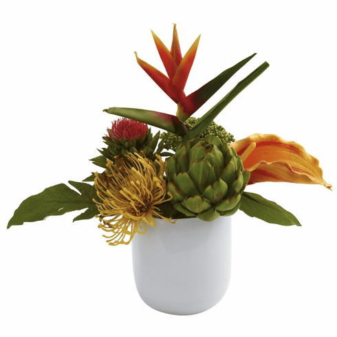 "14"" Tropical Floral Arrangement in White Glass Vase"