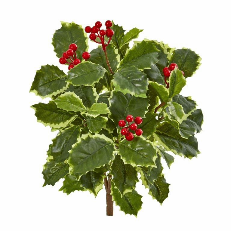 14� Variegated Holly Leaf Bush Artificial Plant (Set of 12) (Real Touch)