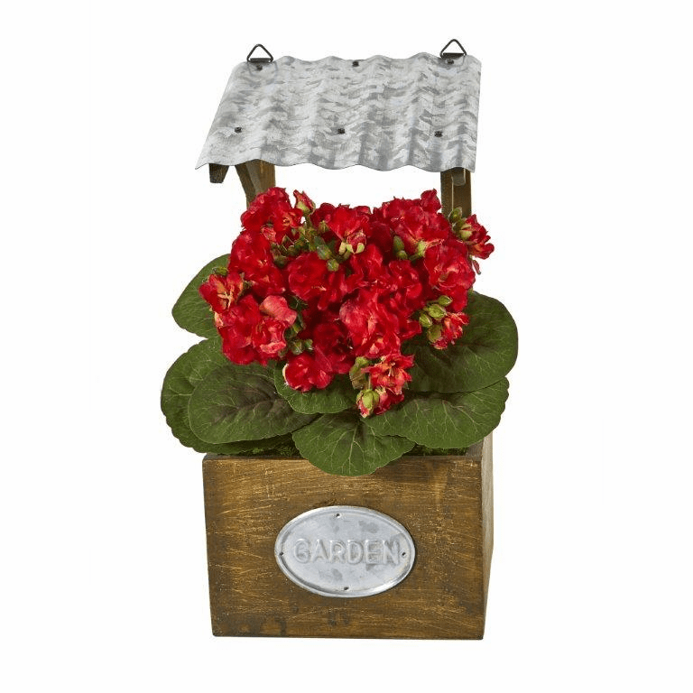 14� Violet Artificial Plant in Tin Roof Planter - Red