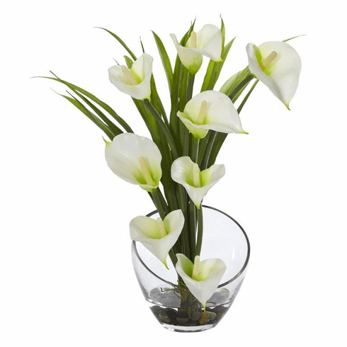 "15.5"" Calla Lily and Grass Artificial Arrangement in Vase - Cream"