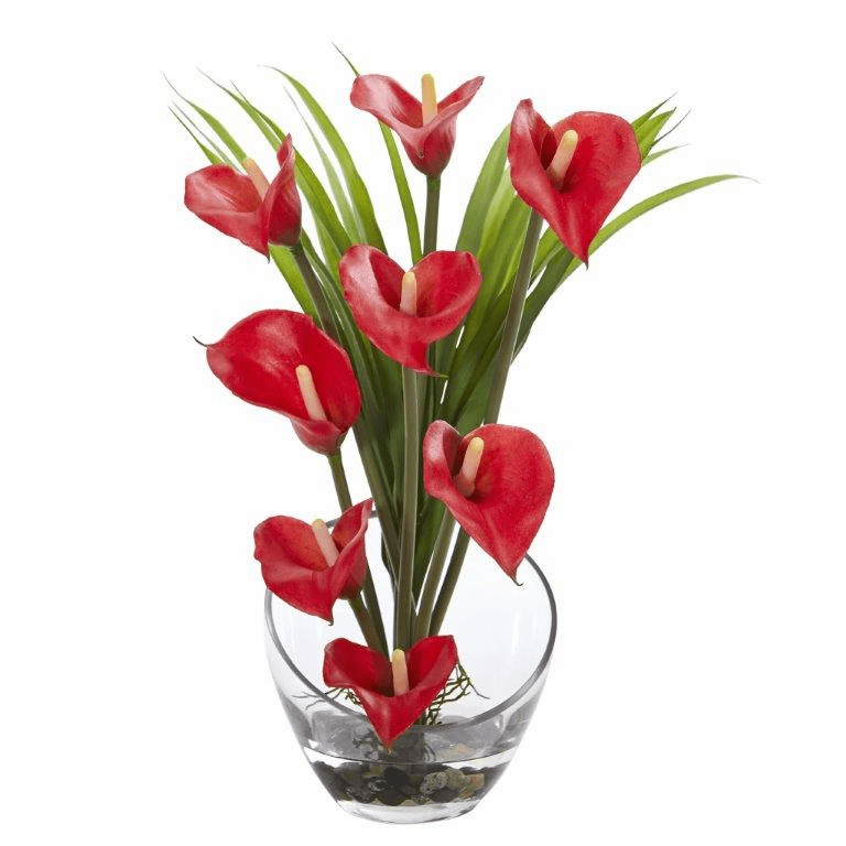 15.5� Calla Lily and Grass Artificial Arrangement in Vase - Red