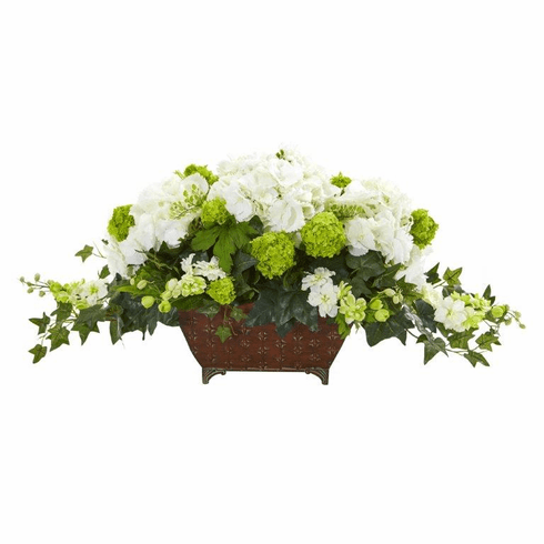 "15.5"" Hydrangea and Ivy Artificial Arrangement - White"
