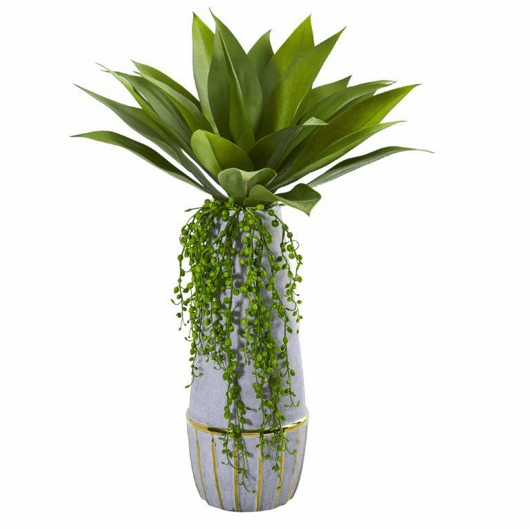 15� Agave Succulent Artificial Plant in Stoneware Planter