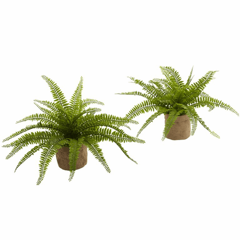"""15"""" Artificial Boston Fern Bush Plants with Burlap Containers - Set of 2"""