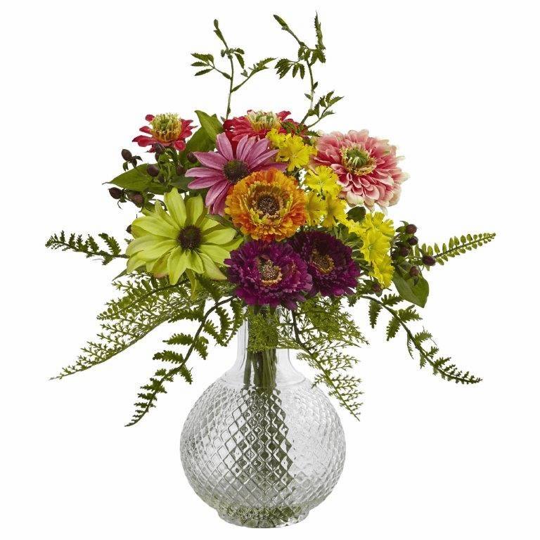 "15"" Artificial Mixed Flower Arrangement in Glass Vase"