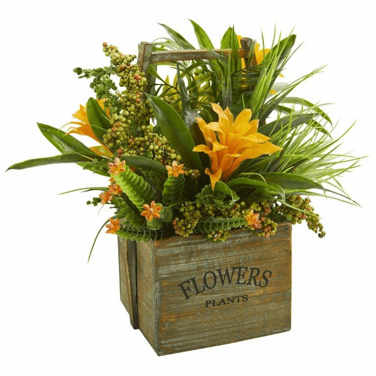 "15"" Bromeliad & Mixed Greens Artificial Arrangement in Planter - Yellow"