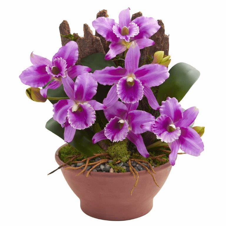 "15"" Cattleya Orchid Artificial Arrangement in Clay Vase - Purple"