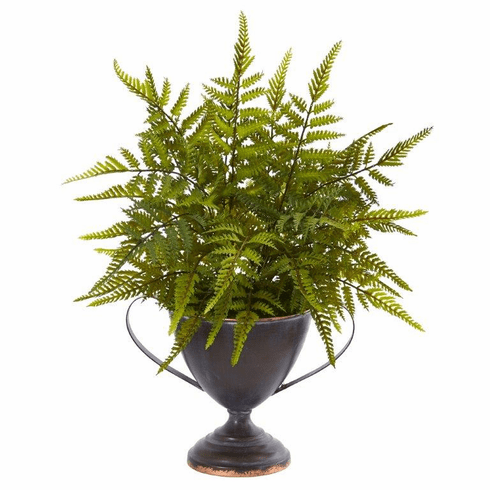 "15"" Fern Artificial Plant in Metal Goblet"