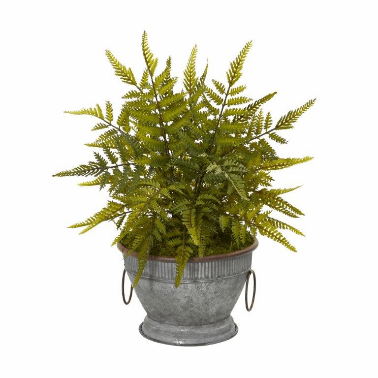 15� Fern Artificial Plant in Vintage Metal Bowl with Copper Trimming