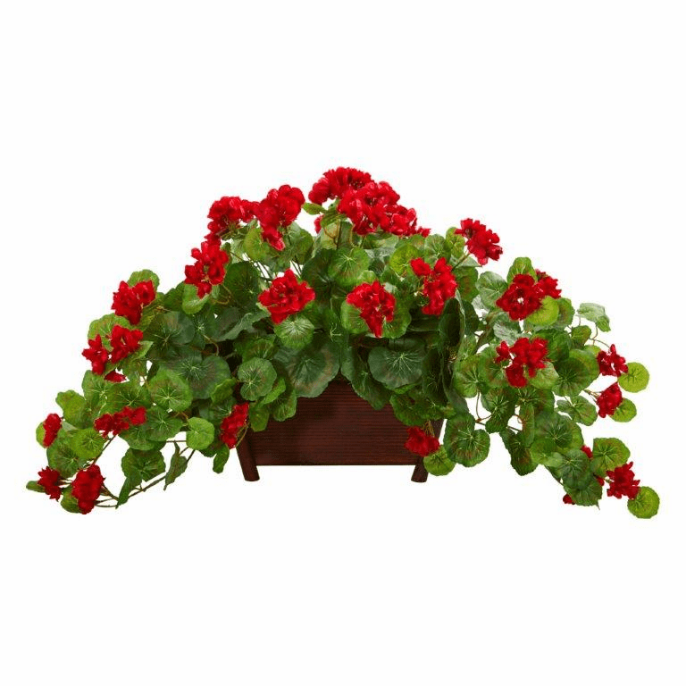 "15"" Geranium Artificial Plant in Decorative Planter - Red"