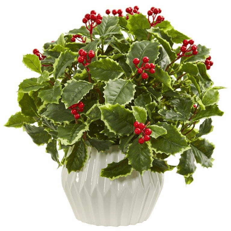 15� Holly Leaf Artificial Plant in White Vase (Real Touch)