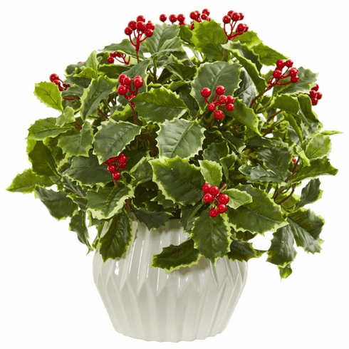 "15"" Holly Leaf Artificial Plant in White Vase (Real Touch)"