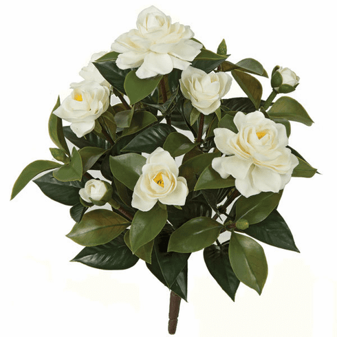 15 Inch Outdoor Polyblend Gardenia Bush - White - Set of 12 - UV Infused