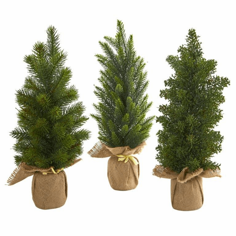 15� Mini Cypress and Pine Artificial Tree (Set of 3)