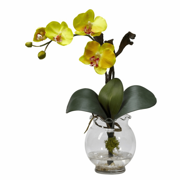"15"" Mini Phalaenopsis w/Fluted Vase Silk Flower Arrangement"