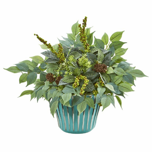 "15"" Mixed Fittonia and Ficus Artificial Plant in Turquoise Vase"