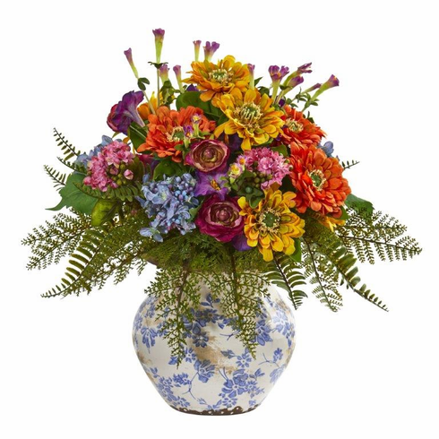 "15"" Mixed Floral Artificial Arrangement in Floral Vase"