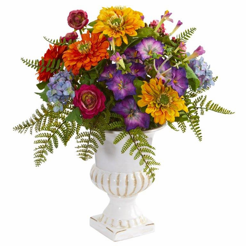 "15"" Mixed Floral Artificial Arrangement in Urn"