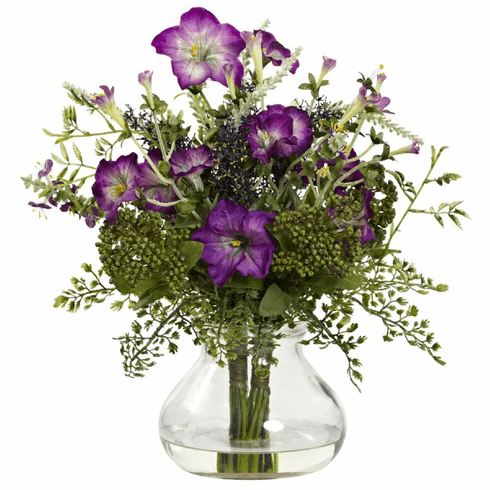 "15"" Mixed Morning Glory Artificial Flower with Vase"