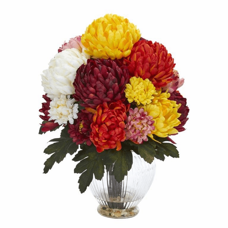 "15"" Mum Artificial Flower Arrangement in Vase - Assorted"