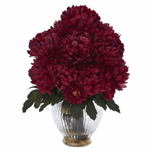 "15"" Mum Artificial Flower Arrangement in Vase - Beauty"
