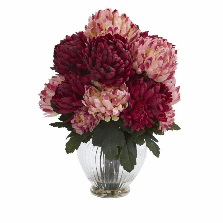 "15"" Mum Artificial Flower Arrangement in Vase - Burgundy"