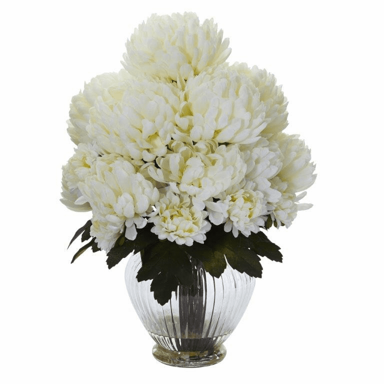 "15"" Mum Artificial Flower Arrangement in Vase - Cream"
