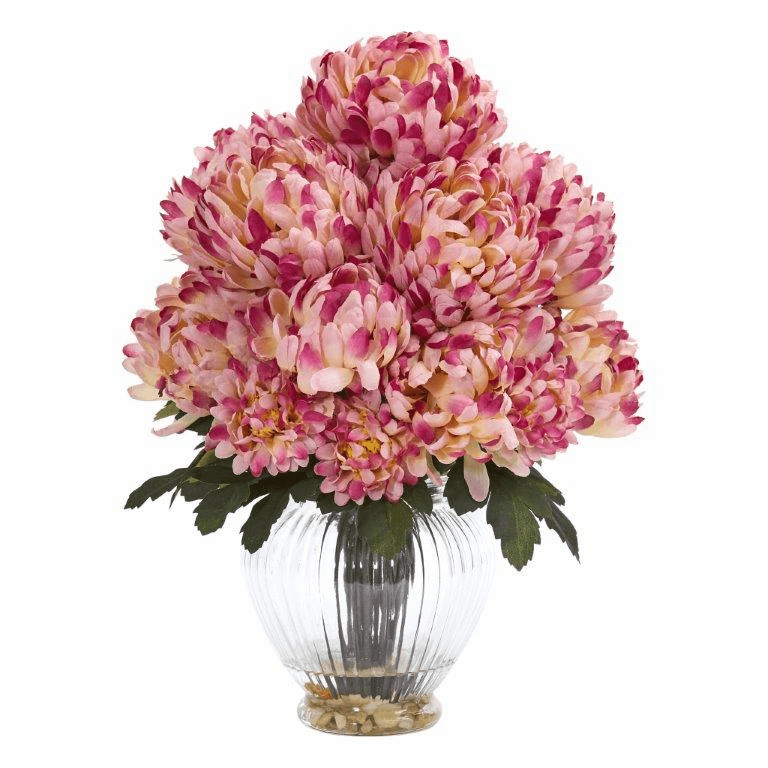"15"" Mum Artificial Flower Arrangement in Vase - Mauve"
