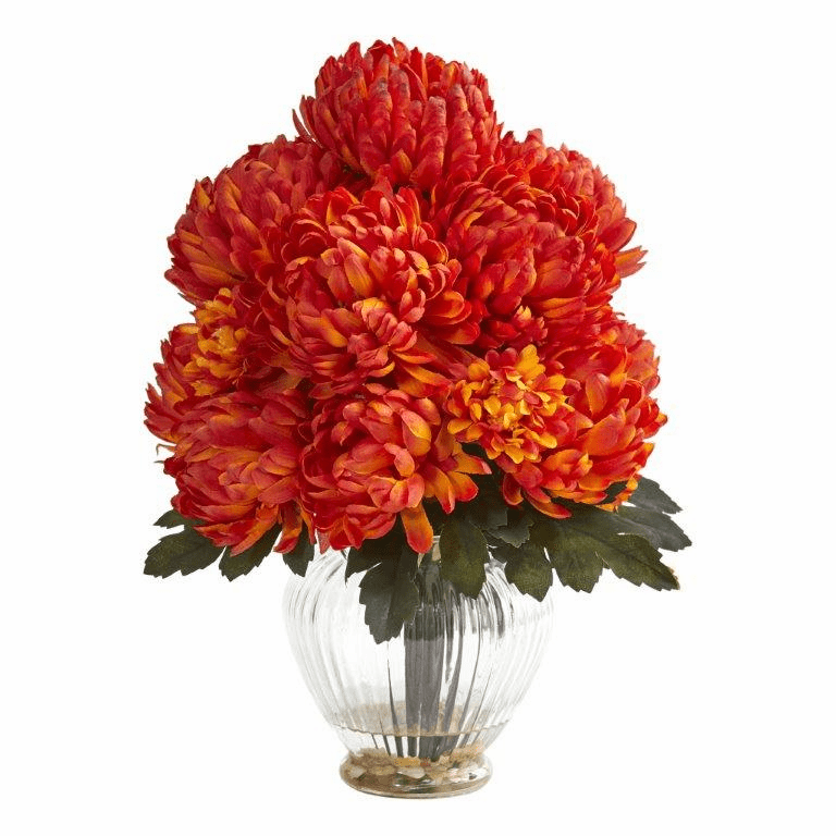 "15"" Mum Artificial Flower Arrangement in Vase - Orange"