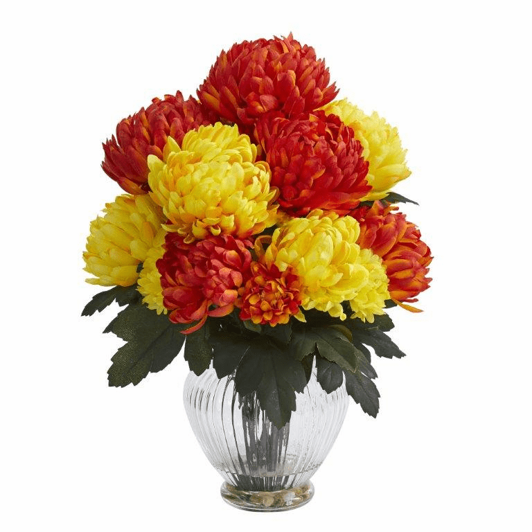"15"" Mum Artificial Flower Arrangement in Vase - Orange Yellow"
