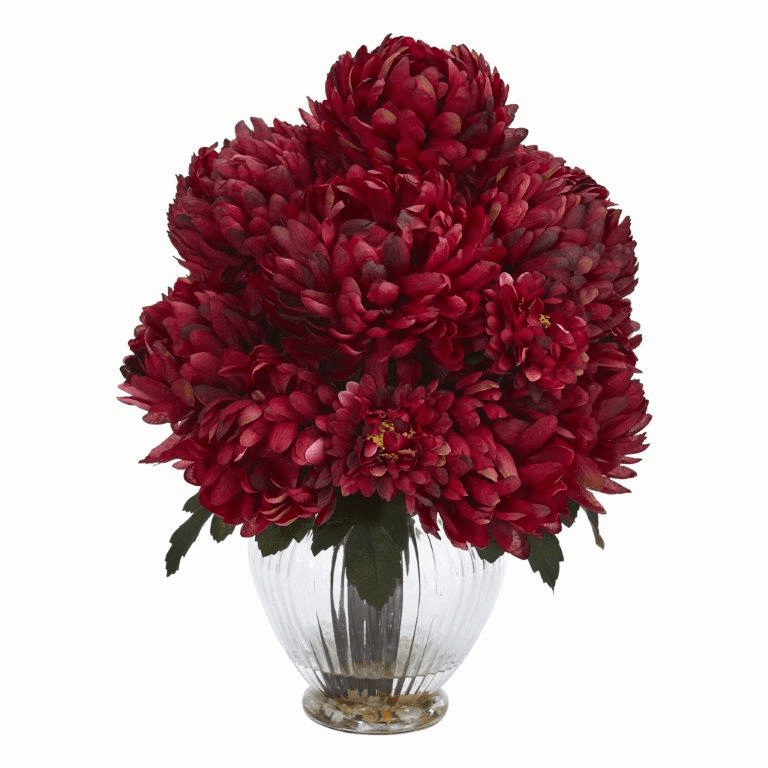 "15"" Mum Artificial Flower Arrangement in Vase - Rust"