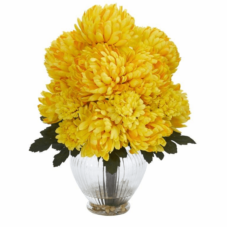 "15"" Mum Artificial Flower Arrangement in Vase - Yellow"