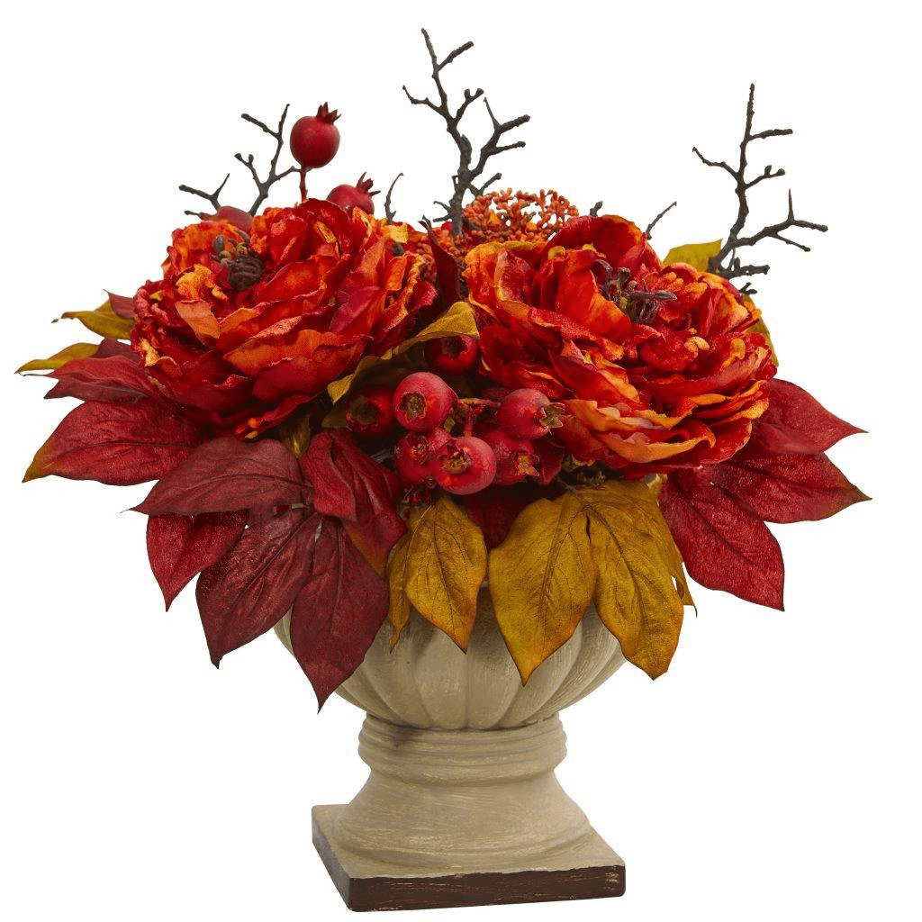 15� Peony and Sedum Artificial Flower Arrangement