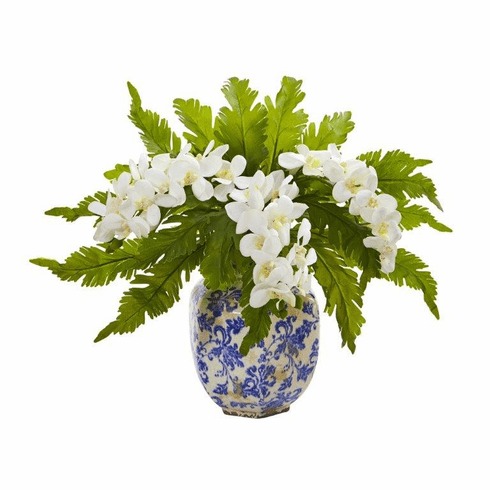 "15"" Phalaenopsis Orchid and Fern Artificial Plant in Vase - White"