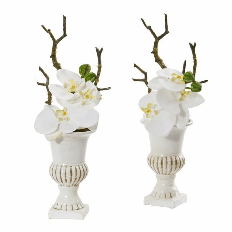 15� Phalaenopsis Orchid Artificial Arrangement in White Urn (Set of 2) - White