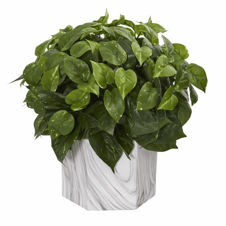 "15"" Pothos Artificial Plant in Marble Finished Vase"