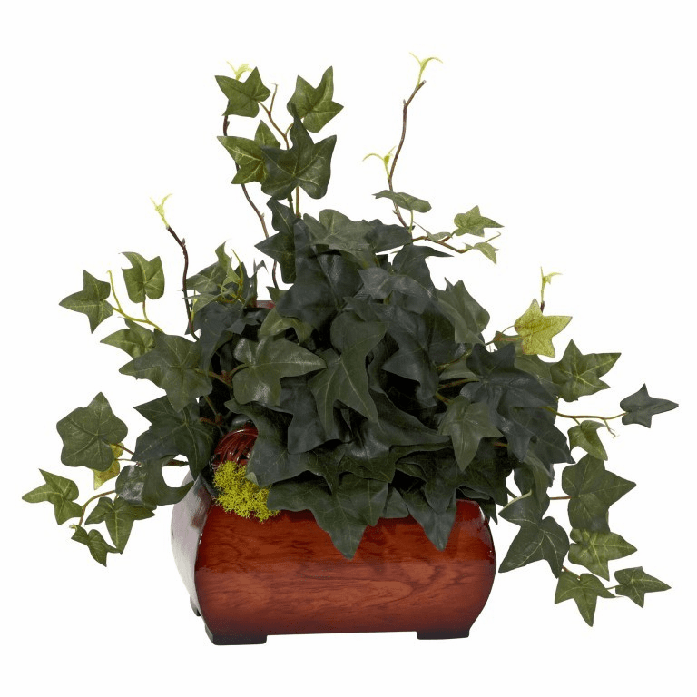 "15"" Puff Ivy with Chest Silk Plant"