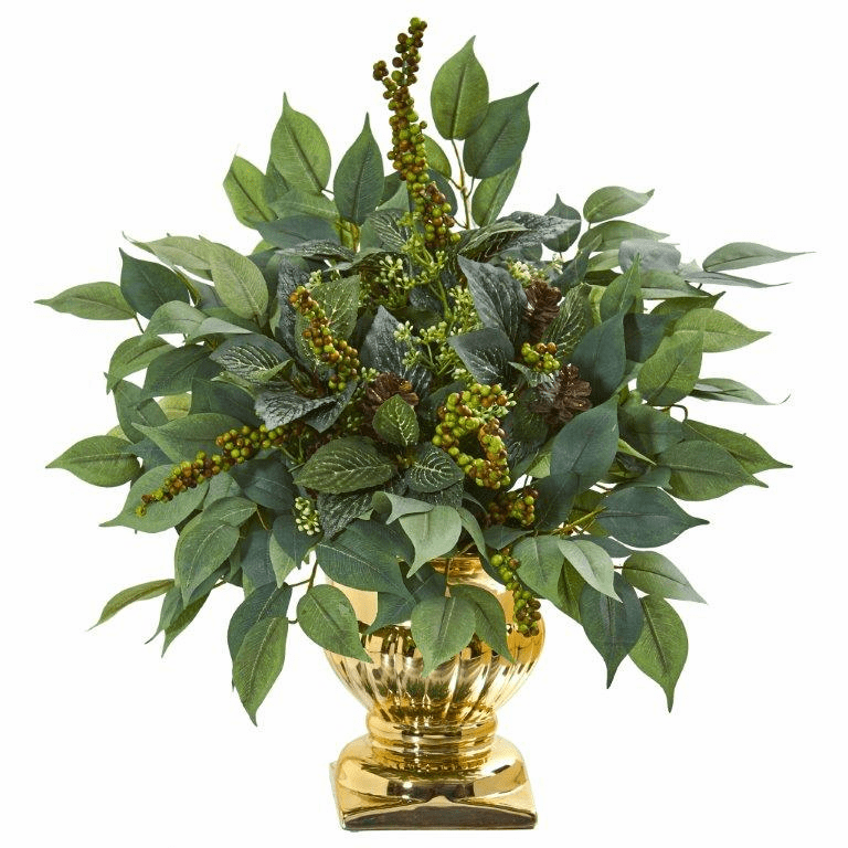 15� Royal Ficus and Fittonia Artificial Plant in Gold Urn