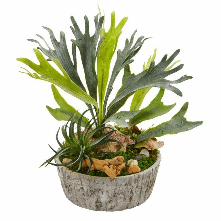 "15"" Staghorn and Succulent Artificial Plant in Weathered Planter"