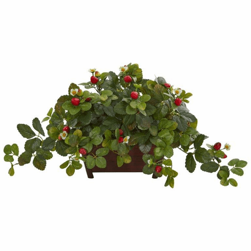 "15"" Strawberry Artificial Plant in Decorative Planter"
