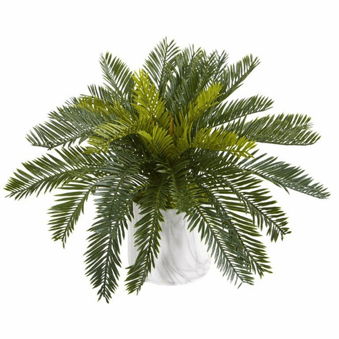 "16"" Cycas Artificial Plant in Marble Finished Vase"