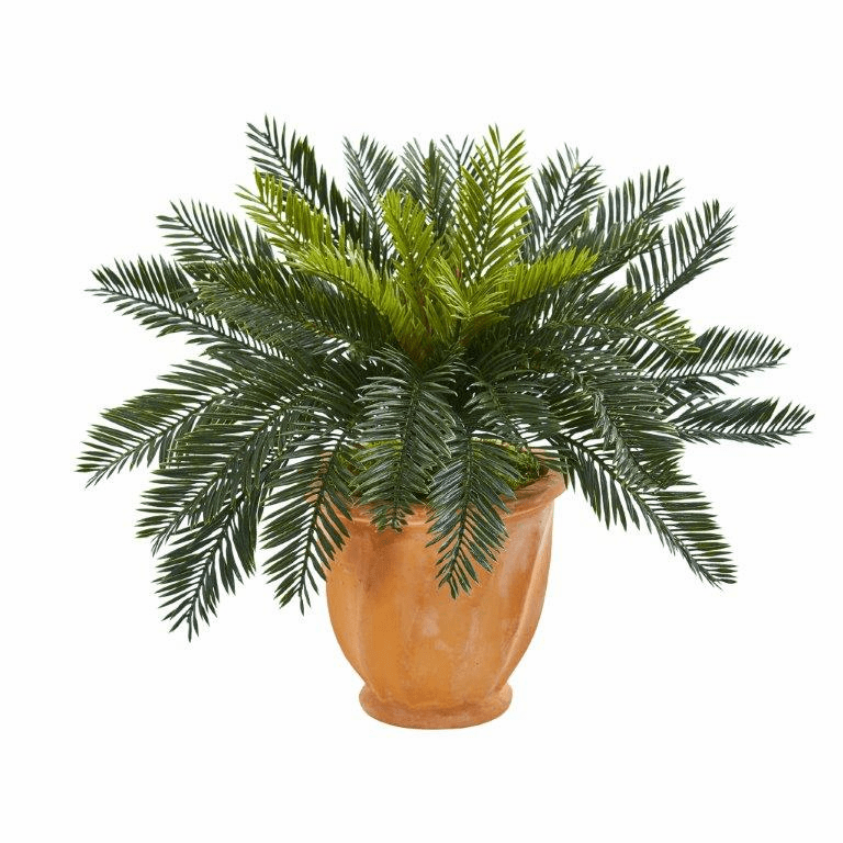 "16"" Cycas Artificial Plant in Terracotta Planter"
