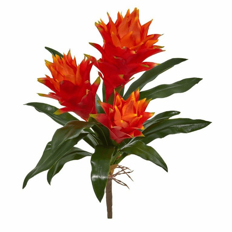 16� Double Bromeliad Artificial Flower (Set of 6)
